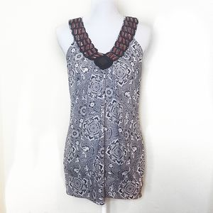 VANITY patterned beaded tank top size large
